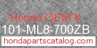 Honda 61101-ML8-700ZB genuine part number image