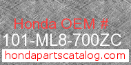 Honda 61101-ML8-700ZC genuine part number image