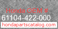 Honda 61104-422-000 genuine part number image