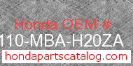 Honda 61110-MBA-H20ZA genuine part number image