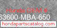 Honda 63600-MBA-650 genuine part number image