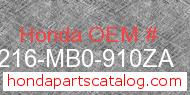 Honda 77216-MB0-910ZA genuine part number image