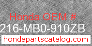 Honda 77216-MB0-910ZB genuine part number image