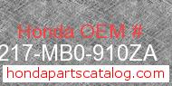 Honda 77217-MB0-910ZA genuine part number image