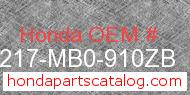 Honda 77217-MB0-910ZB genuine part number image