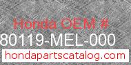 Honda 80119-MEL-000 genuine part number image