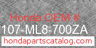 Honda 83107-ML8-700ZA genuine part number image