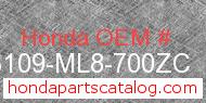 Honda 83109-ML8-700ZC genuine part number image