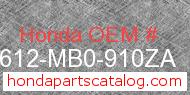 Honda 83612-MB0-910ZA genuine part number image