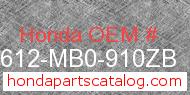 Honda 83612-MB0-910ZB genuine part number image