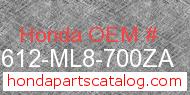 Honda 83612-ML8-700ZA genuine part number image