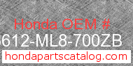 Honda 83612-ML8-700ZB genuine part number image