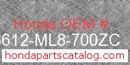 Honda 83612-ML8-700ZC genuine part number image