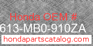 Honda 83613-MB0-910ZA genuine part number image