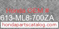Honda 83613-ML8-700ZA genuine part number image