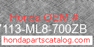 Honda 87113-ML8-700ZB genuine part number image