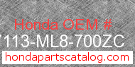 Honda 87113-ML8-700ZC genuine part number image