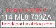 Honda 87114-ML8-700ZA genuine part number image
