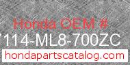Honda 87114-ML8-700ZC genuine part number image