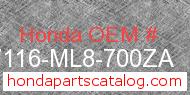 Honda 87116-ML8-700ZA genuine part number image