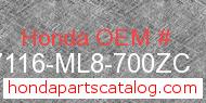 Honda 87116-ML8-700ZC genuine part number image
