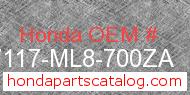 Honda 87117-ML8-700ZA genuine part number image