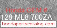 Honda 87128-ML8-700ZA genuine part number image