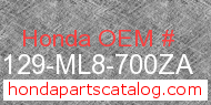 Honda 87129-ML8-700ZA genuine part number image