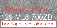 Honda 87129-ML8-700ZB genuine part number image