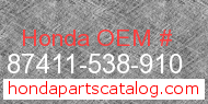 Honda 87411-538-910 genuine part number image