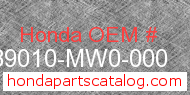 Honda 89010-MW0-000 genuine part number image