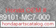 Honda 89101-MC7-000 genuine part number image