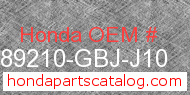 Honda 89210-GBJ-J10 genuine part number image