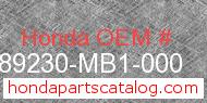 Honda 89230-MB1-000 genuine part number image