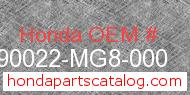 Honda 90022-MG8-000 genuine part number image
