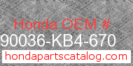 Honda 90036-KB4-670 genuine part number image