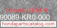 Honda 90089-KR0-000 genuine part number image