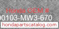 Honda 90103-MW3-670 genuine part number image
