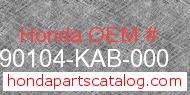 Honda 90104-KAB-000 genuine part number image