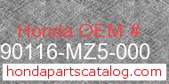 Honda 90116-MZ5-000 genuine part number image