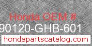 Honda 90120-GHB-601 genuine part number image