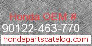 Honda 90122-463-770 genuine part number image