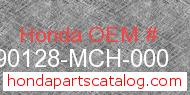 Honda 90128-MCH-000 genuine part number image