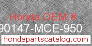 Honda 90147-MCE-950 genuine part number image