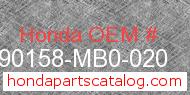 Honda 90158-MB0-020 genuine part number image