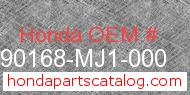 Honda 90168-MJ1-000 genuine part number image