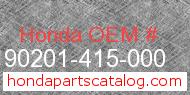 Honda 90201-415-000 genuine part number image