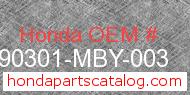 Honda 90301-MBY-003 genuine part number image