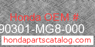 Honda 90301-MG8-000 genuine part number image