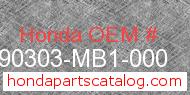 Honda 90303-MB1-000 genuine part number image